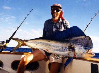 Mahi mahi, Dorado, Dolphinfish - Coryphaena hippurus caught off the Tongan Islands. Photo, Malcolm Bell, The Complete Angler tackle store, Christchurch.