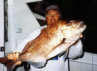 Rod Shearman with a 7kg snapper caught right on dusk. How to Catch Snapper.