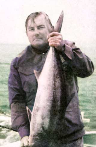 """Blue water angling author Peter Goadby showed the boys on """"SAMARA """" a few things about catching yellowtail."""