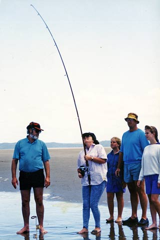 Above (from left): Ron Steen, Vicki (my wife), Helen, author, and Clare Jamieson. The fish was a gurnard.