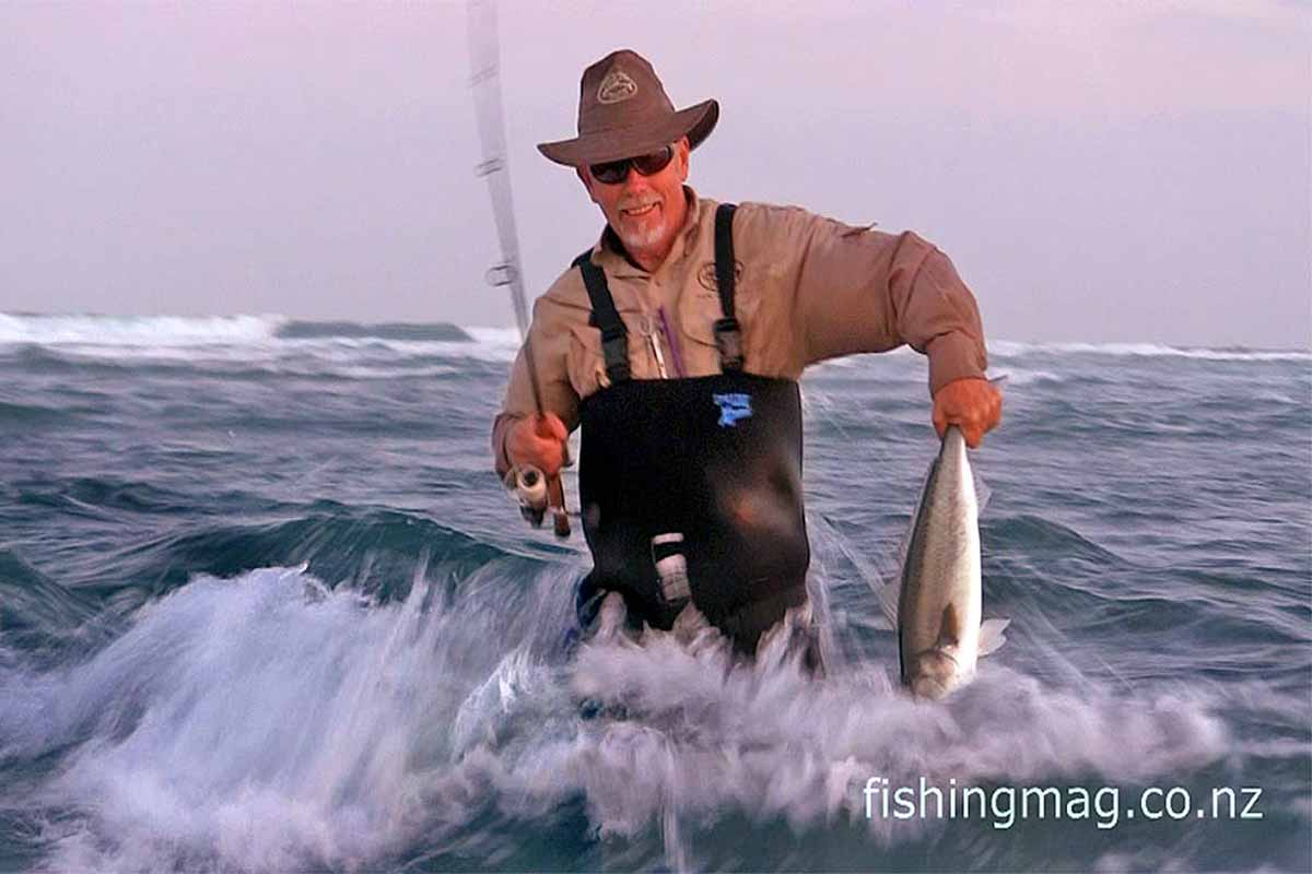 Malcolm Bell fishing for kahawai on light tackle.