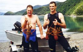 Crayfish by Dinghy. Darryl and Brett Le Bherz, with Brett's first cray.