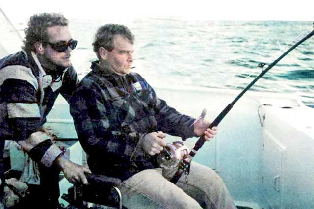 John McElney hooked into his first marlin with Nick Shearman looking on.