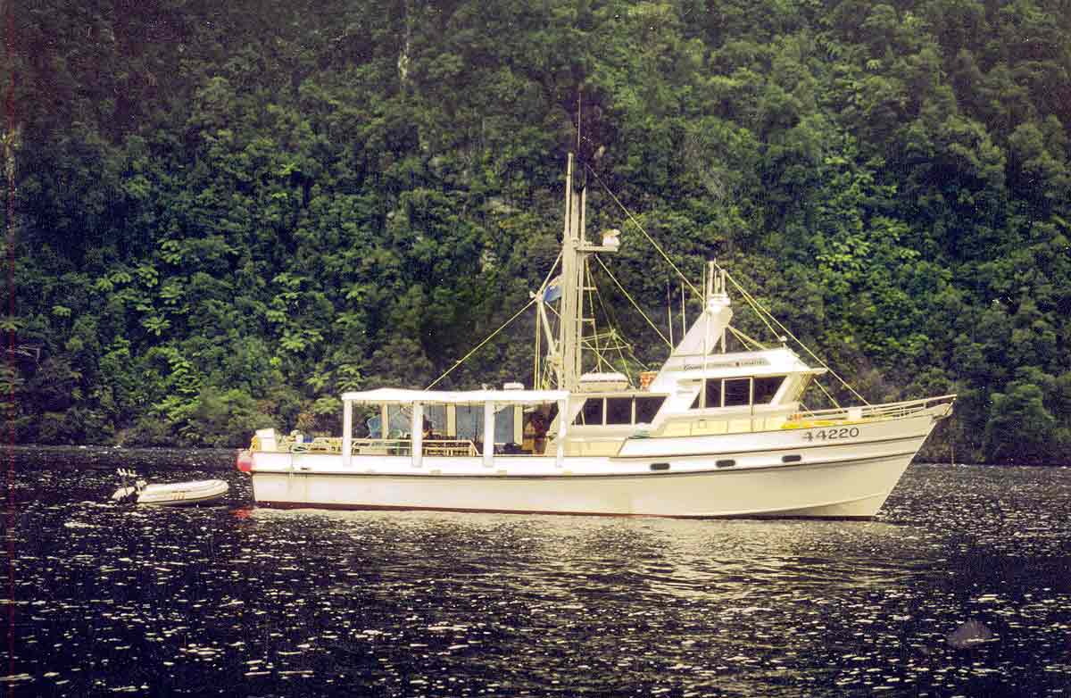 Genesis II at Deep Cove, Doubtful Sound, Fiordland.