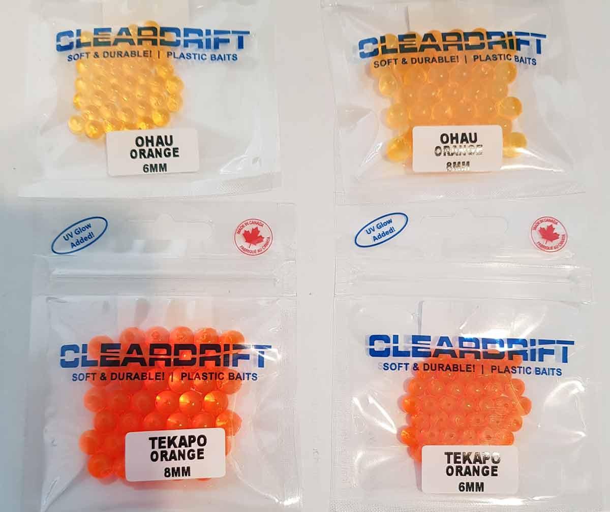 Clear Drift Ohau Orange and Tekapo Orange fish eggs.
