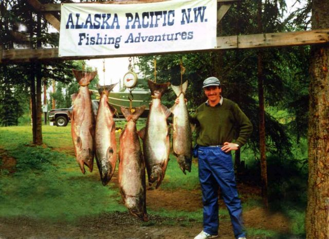 The catch from our first morning fishing on the Kenai River, Alaska.
