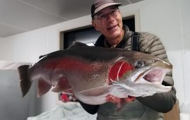 Roland Brunner with a big 24 pound rainbow trout