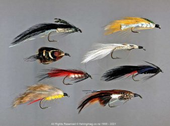 Top row: Hope's Dark, Hope's Silvery. 2nd row: Mrs Simpson, Grey Ghost, 3rd row: Red Shadow, Hart's Creek. 4th row: Yellow Rabbit, Brunton No.1. Night Fishing with Lures.