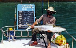 The author with 17kg kingfish caught in the turbulent swirling water of French Pass.